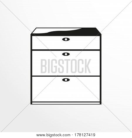 Pieces of furniture. Linen drawers. Vector illustration. Two-color isolated object on a light background.