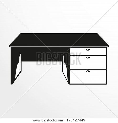 Pieces of furniture. Student table. Vector illustration. Two-color isolated object on a light background.