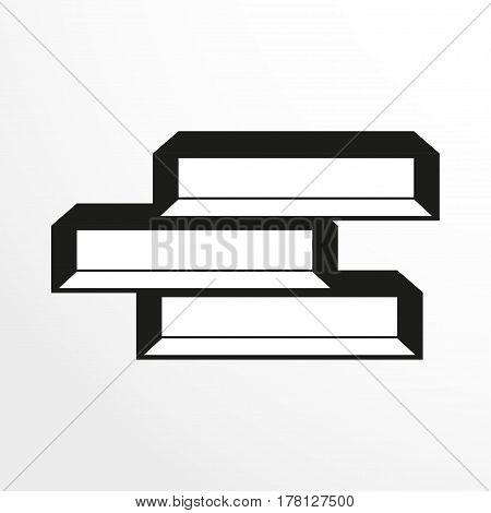 Pieces of furniture. Book shelves. Vector illustration. Two-color isolated object on a light background.