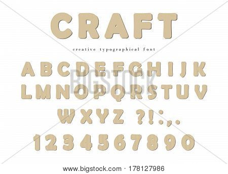 Craft typographical font. Cardboard ABC letters and numbers isolated on white. Vector.