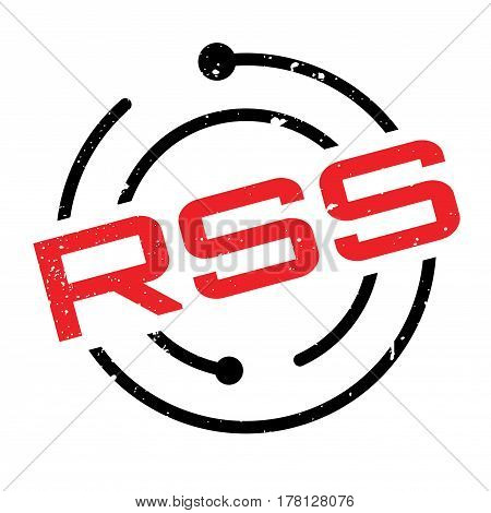 Rss rubber stamp. Grunge design with dust scratches. Effects can be easily removed for a clean, crisp look. Color is easily changed.