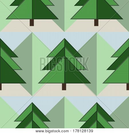 Good Seamless Geometrical Green Firs Forest Pattern