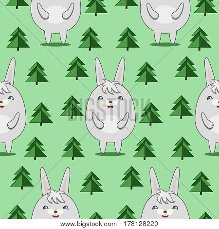 Seamless Pattern with Cute Rabbits in Firs Forrest