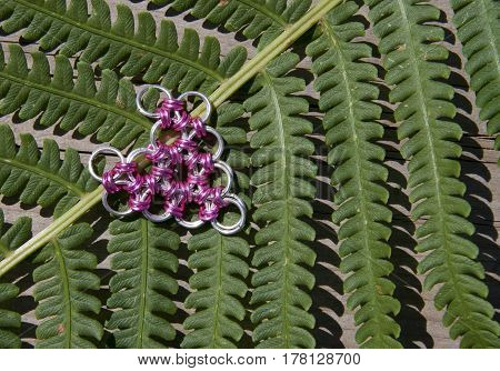Chainmail's heart lay on fern's leaf, for desktop