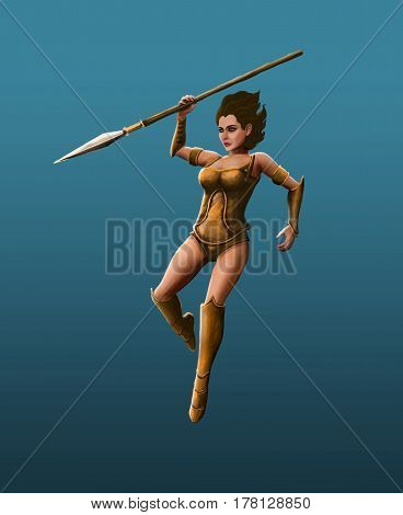 Beautiful girl warrior strikes with a spear