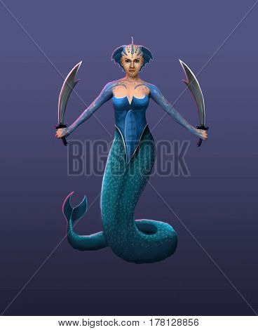 A beautiful hydra girl a sea goddess in a fighting stance