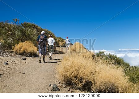Senior Hikers In The Tenerife Mountains, Spain, Editorial