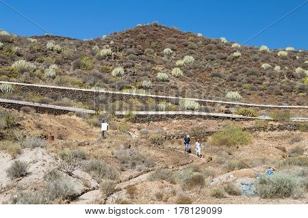 Hikers In The Hills Of Tenerife, Spain, Editorial