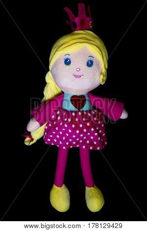 Cute Princess Doll Isolated On Black Background.