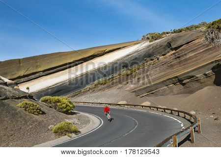 Mountain Biker In Tenerife, Spain, Editorial