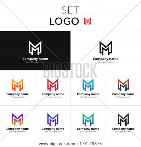 Letter M logo monogram. Set double icon M with colorful gradient background. Vector sign on black and white color. Creative vision concept logo, elements, symbol for card, brand, banners.