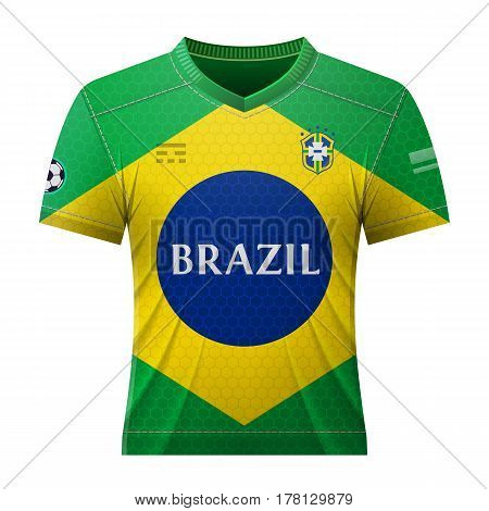 Soccer shirt in colors of brazilian flag. National jersey for football team of Brazil. Qualitative vector illustration about soccer sport game football championship national team gameplay etc