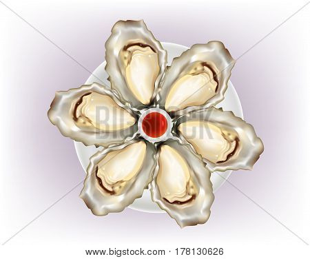 Oysters on a platter on white background