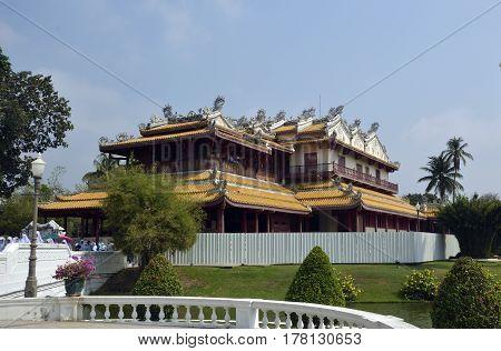 Chinese Pavilion in garden Bang Pa-In Summer Royal Residence Thailand Ayutthaya