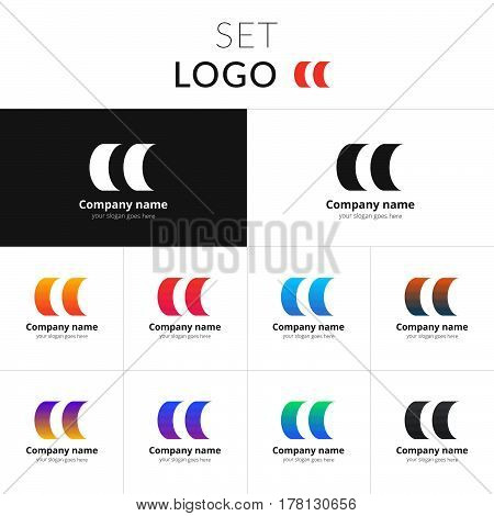 Circle silhouette vector design. Double circle shape identity set icon for company or brand on gradient background. Colorful emblem on isolated white background.