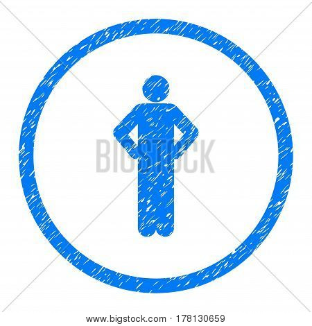 Akimbo Person Pose grainy textured icon inside circle for overlay watermark stamps. Flat symbol with scratched texture.