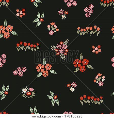 Blooming retro wildflowers on dark grey background.