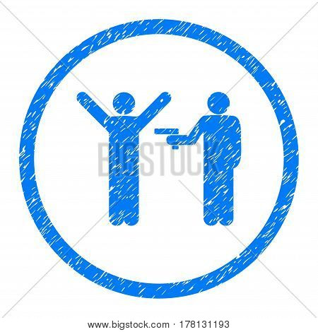Crime Forcing grainy textured icon inside circle for overlay watermark stamps. Flat symbol with dust texture. Circled dotted vector blue ink rubber seal stamp with grunge design on a white background.