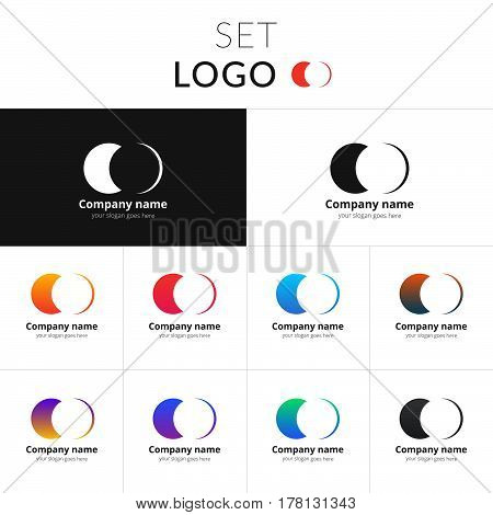 Two circle vector design. Double circle shape identity set icon for company or brand on gradient background. Colorful emblem on isolated white background.