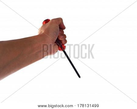 hand hold tool on a white background.