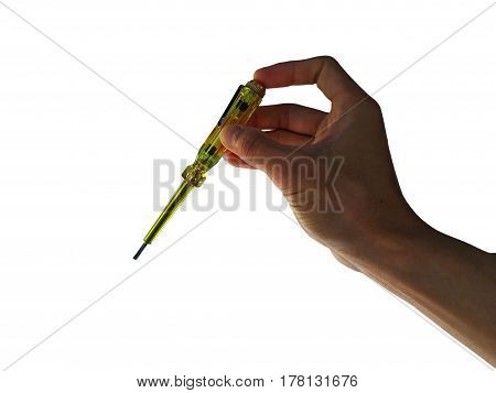 hand hold Measuring the power screwdriver on white background