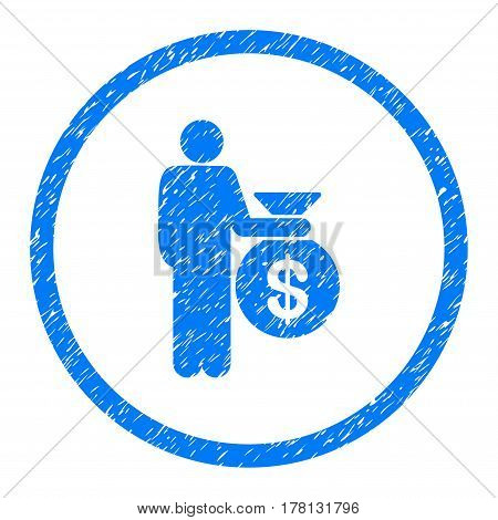 Investor grainy textured icon inside circle for overlay watermark stamps. Flat symbol with unclean texture. Circled dotted vector blue ink rubber seal stamp with grunge design on a white background.