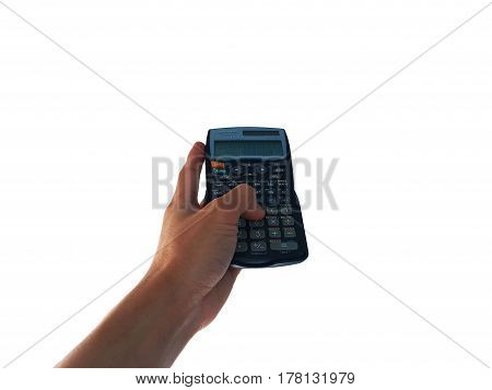 hand hold scientific calculator on a white background.