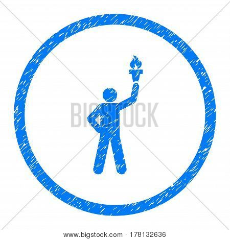 Person With Freedom Torch grainy textured icon inside circle for overlay watermark stamps. Flat symbol with dust texture.