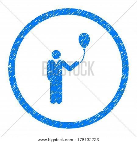 Person With Holiday Balloon grainy textured icon inside circle for overlay watermark stamps. Flat symbol with scratched texture.