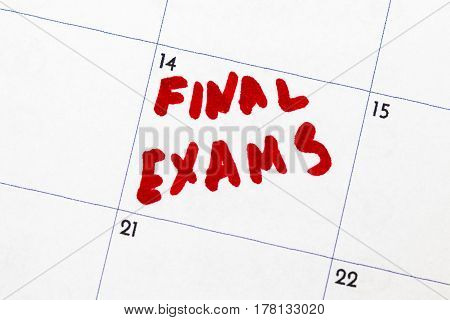 Calendar Reminder, Final Exams,circled In Red Marker