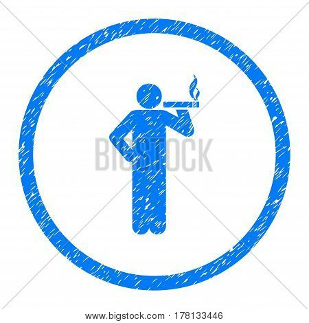 Smoking Person grainy textured icon inside circle for overlay watermark stamps. Flat symbol with scratched texture.