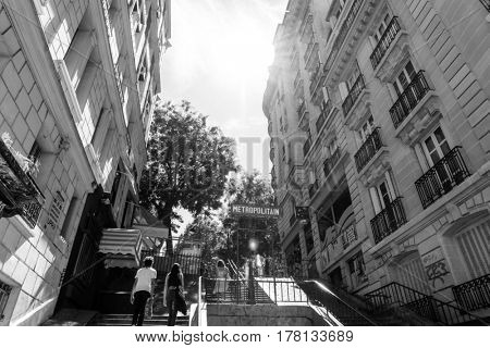 PARIS, FRANCE - August 7, 2016 : Tourists on foot Graben Street view around Paris city. Paris is the capital and most populous city of France. Paris, France