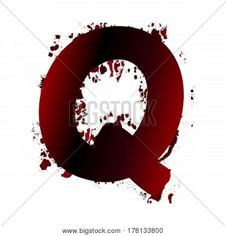 Dirty Bloody Letter Q With Spots. Grunge Alphabet. Scary Letters For Halloween