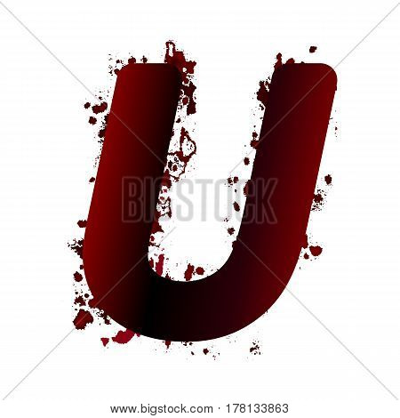 Dirty Bloody Letter U With Spots. Grunge Alphabet. Scary Letters For Halloween