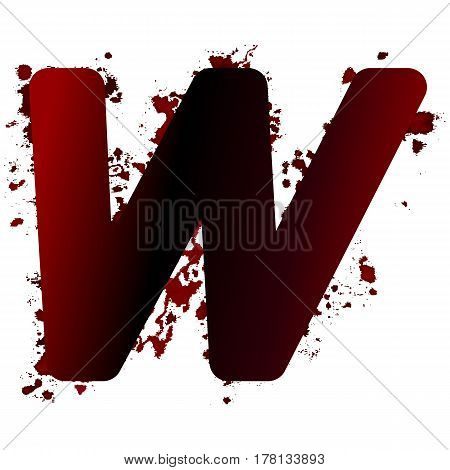 Dirty Bloody Letter W With Spots. Grunge Alphabet. Scary Letters For Halloween
