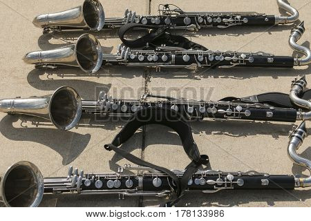 The bass clarinet section take a brake