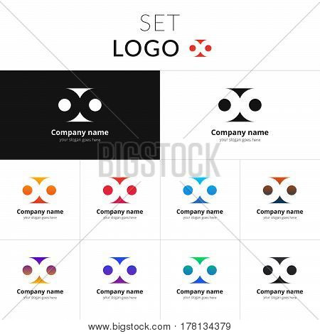 Abstract double circle vector design. Loop shape identity set icon for company or brand on gradient background. Colorful emblem on isolated white background.