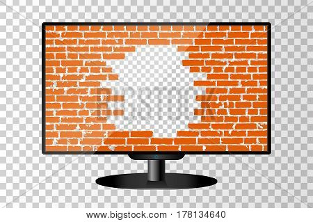 Realistic Modern Tv Monitor Isolated. Broken Brick Wall Concept Background. Vector Illustration