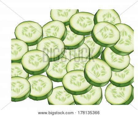 Fresh slices of cucumbers on white background