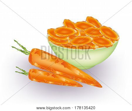 Bowl of carrots slices and whole carrots