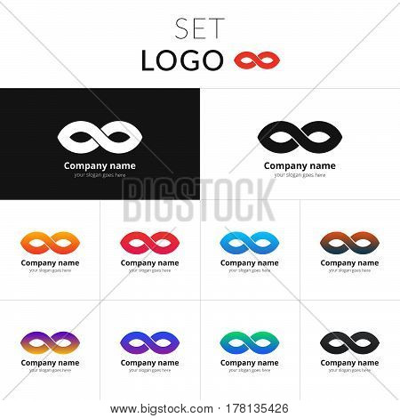 Infinity logo abstract vector design. Loop shape identity set icon for company or brand on gradient background. Colorful emblem on isolated white background.