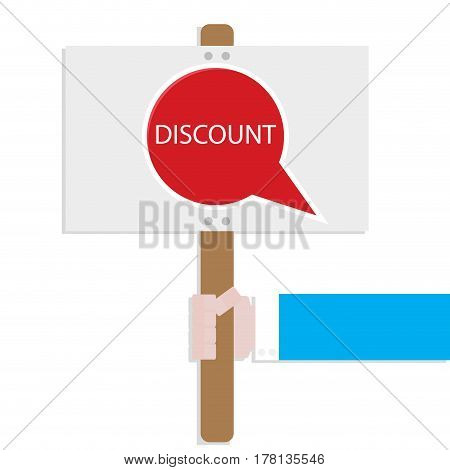 Hand hold promotion banner discount. Advertising label for retail market announcement agitation shopping. Vector illustration