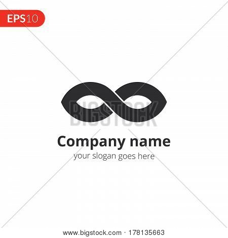 Infinity logo abstract vector design. Loop shape emblem identity icon. Monochrome symbol element. Grey color icon on isolated white background.