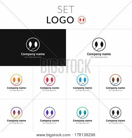 Logo circle vector design. Abstract lines in the circle identity set icon for company or brand on gradient background. Colorful emblem on isolated white background.