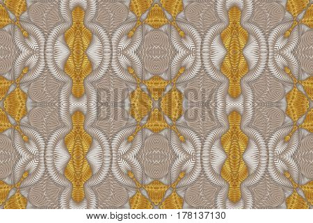 Kaleidoscopic beige and gold seamless pattern is computer graphics and it can be used in the design of textiles in the printing industry in a variety of design projects.