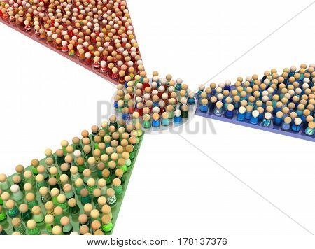 Crowd of small symbolic figures red green and blue color paths 3d illustration horizontal