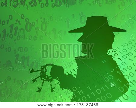 Virtual digits abstract 3d illustration shadow figure with keys horizontal