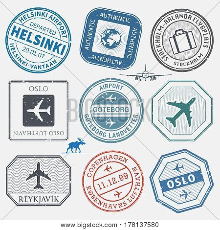 Travel stamps or adventure symbols set Scandinavian airport theme names of airports also in scandinavian languages vector illustration