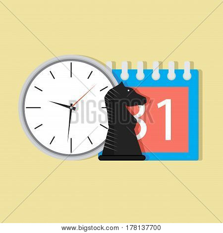 Time and tactic orgnization. Calendar and business figure vector illustration