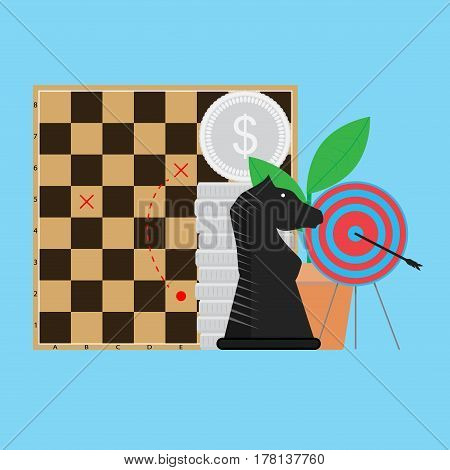 Tactic in business. Perfection success performance bullseye and sprout vector illustration